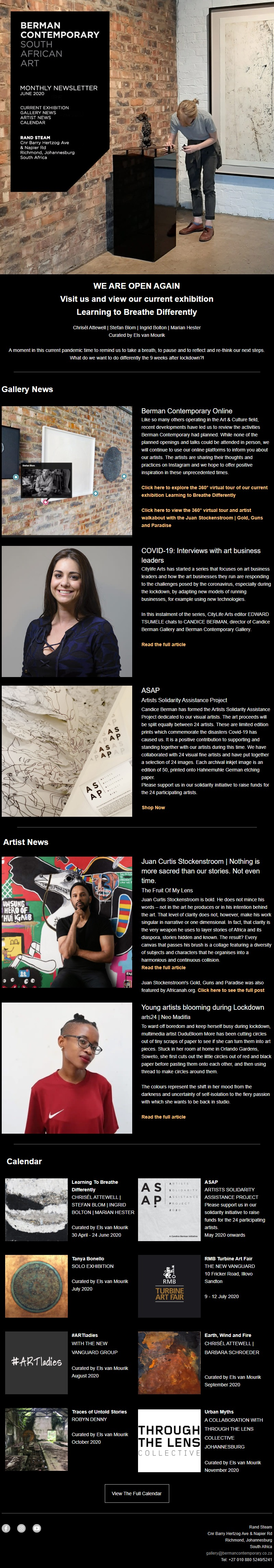 Berman Contemporary newsletter